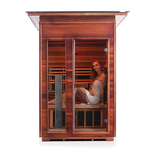 Load image into Gallery viewer, Enlighten Sauna Rustic 2 Person Slope Roof with woman sitting inside, sauna facing front