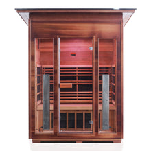 Load image into Gallery viewer, Enlighten Sauna Rustic 3 Person Slope Roof front facing view with white background