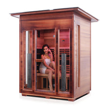 Load image into Gallery viewer, Enlighten Sauna Rustic 3 Person Slope Roof facing left with woman inside
