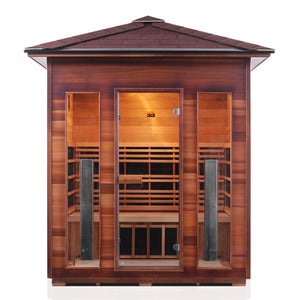 Enlighten Sauna Rustic 4 Person Peak Roof front facing view
