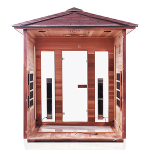 Enlighten Sauna Rustic 4 Person Peak Roof with back panel taken off showing the inside