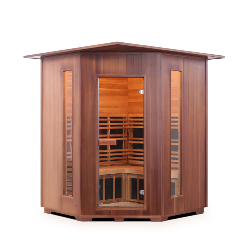 Enlighten Sauna - Diamond 4 Corner Indoor Infrared/Traditional Hybrid Sauna