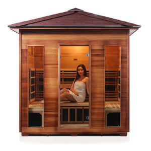 Enlighten Sauna Rustic 5 Person Peak Roof front facing view with woman inside