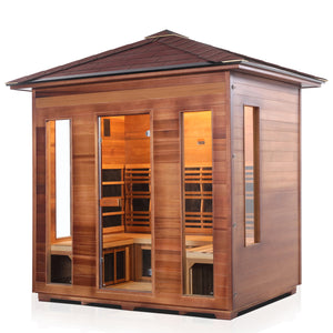 Enlighten Sauna Rustic 5 Person Peak Roof left facing view with white background