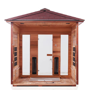 Enlighten Sauna Rustic 5 Person Peak Roof with back panel removed showing the inside from a back facing view