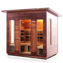 Load image into Gallery viewer, Enlighten Sauna Rustic 5 Person Slope Roof facing left with white background