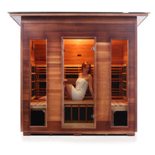 Load image into Gallery viewer, Enlighten Sauna Rustic 5 Person Slope Roof front facing view with white background and woman inside