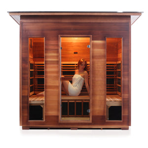 Enlighten Sauna Rustic 5 Person Slope Roof front facing view with white background and woman inside