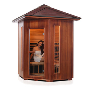 Enlighten Sauna Rustic 4 Person Corner Sauna right facing view with woman inside, white background