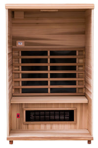 Health Mate - Renew II Infrared Sauna front facing view with front panel removed to show inside structure
