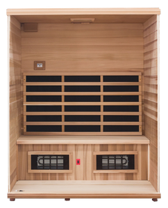 Health Mate - Renew III Infrared Sauna front facing view with front panel removed showing the inside structure