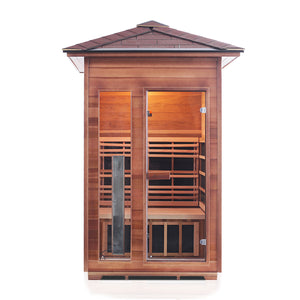 Enlighten Sauna Rustic 2 Person Peak Roof straight front view in white background