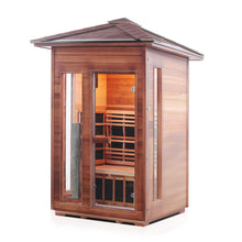 Load image into Gallery viewer, Enlighten Sauna Rustic 2 Person Peak Roof in a white background