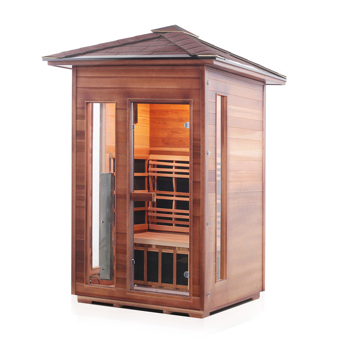 Enlighten Sauna Rustic 2 Person Peak Roof in a white background