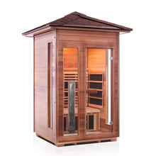 Load image into Gallery viewer, Enlighten Sauna Rustic 2 Person Peak Roof Front view facing right in white background