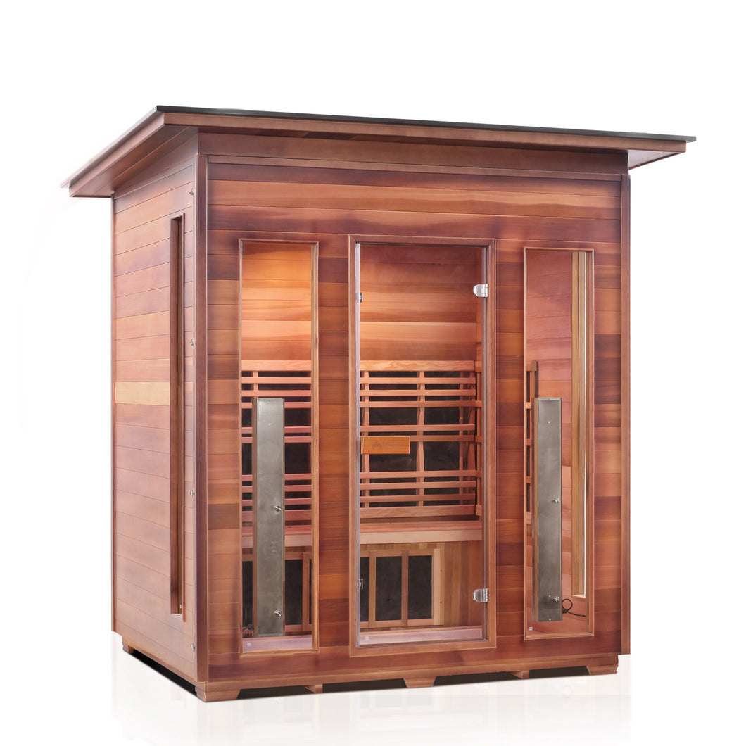 Enlighten Sauna Rustic 3 Person Slope Roof facing right with white background