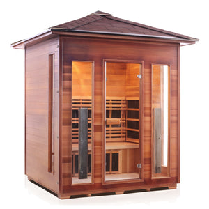 Enlighten Sauna Rustic 4 Person Peak Roof facing right with white background