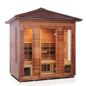 Enlighten Sauna Rustic 5 Person Peak Roof facing right with white background