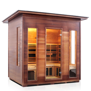 Enlighten Sauna Rustic 5 Person Slope Roof facing right with white background