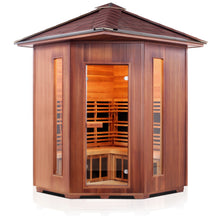 Load image into Gallery viewer, Enlighten Sauna Rustic 4 Person Corner Sauna front facing view with white background