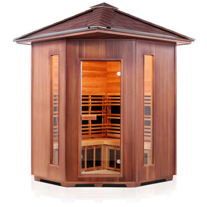 Enlighten Sauna Rustic 4 Person Corner Sauna front facing view with white background