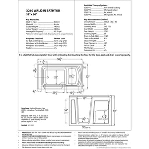 MediTub Walk-In 32 x 60 Right Drain Biscuit Whirlpool Jetted Walk-In Bathtub - 3260RBH