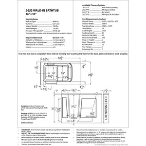 MediTub Walk-In 26 x 53 Right Drain Biscuit Whirlpool & Air Jetted Walk-In Bathtub - 2653RBD
