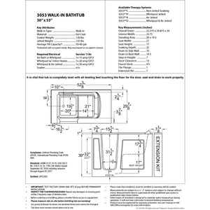MediTub Walk-In 30 x 53 Right Drain White Whirlpool & Air Jetted Walk-In Bathtub - 3053RWD