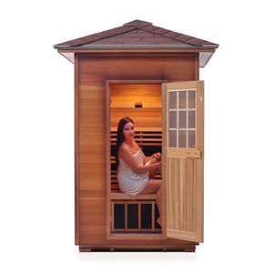Enlighten Sauna Sierra 2 Person Peak Roof facing front with woman inside in white background