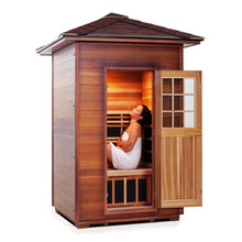 Load image into Gallery viewer, Enlighten Sauna Sierra 2 Person Peak Roof facing right with woman inside in white background