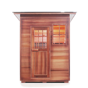 Enlighten Sauna Sierra 3 Person Slope Roof facing front in a white background