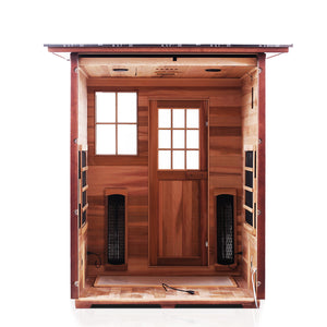 Enlighten Sauna Sierra 3 Person Slope Roof with back panel removed showing the inside structure