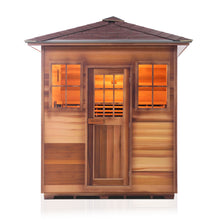 Load image into Gallery viewer, Enlighten Sauna Sierra 4 Person Peak Roof facing front with white background
