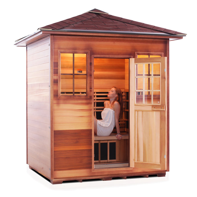 Enlighten Sauna Sierra 4 Person Peak Roof facing right with woman inside, door open
