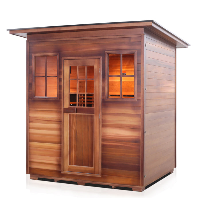 Enlighten Sauna Sierra 4 Person Slope Roof facing left with white background