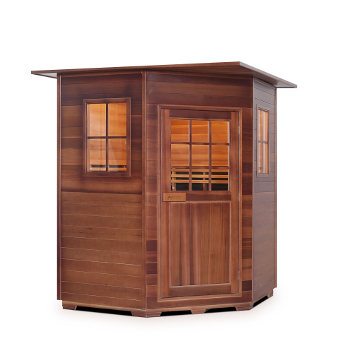 Enlighten Sauna - Sapphire 4 Corner Indoor Infrared/Traditional Hybrid Sauna