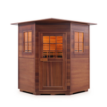 Load image into Gallery viewer, Enlighten Sauna - Sapphire 4 Corner Indoor Infrared/Traditional Hybrid Sauna