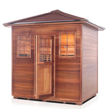 Load image into Gallery viewer, Enlighten Sauna Sierra 5 Person Peak Roof facing left with white background