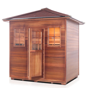 Enlighten Sauna Sierra 5 Person Peak Roof facing left with white background