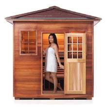 Load image into Gallery viewer, Enlighten Sauna Sierra 5 Person Peak Roof facing front, woman inside with door open