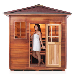 Enlighten Sauna Sierra 5 Person Peak Roof facing front, woman inside with door open