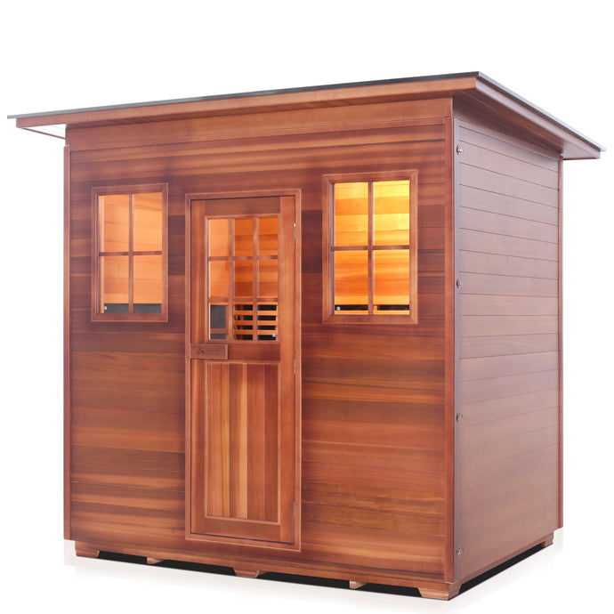 Enlighten Sauna Sierra 5 Person Slope Roof facing left with white background