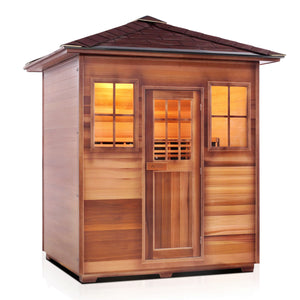 Enlighten Sauna Sierra 4 Person Peak Roof facing right with white background