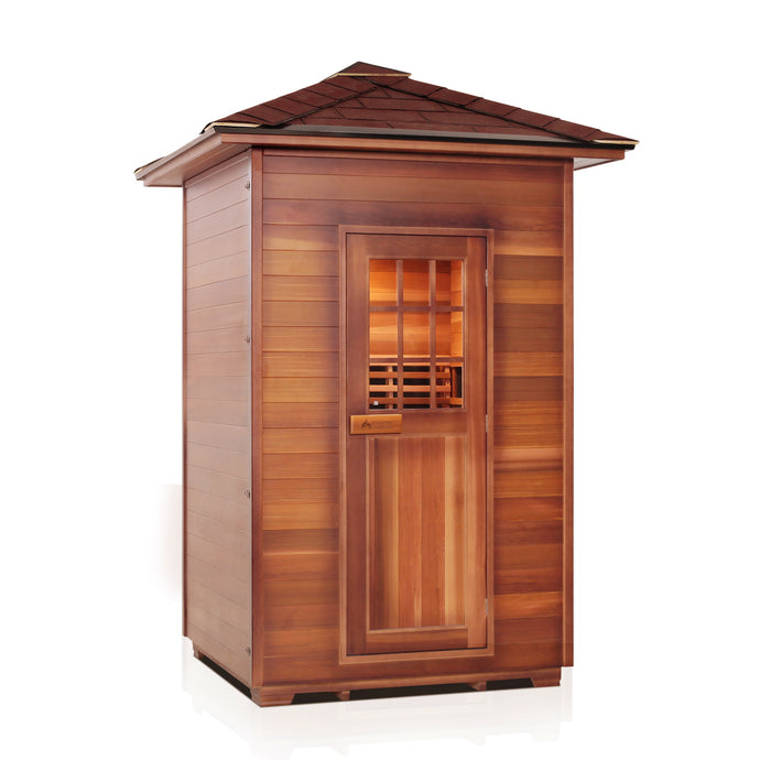 Enlighten Sauna Sierra 2 Person Peak Roof facing right in white background