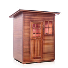 Load image into Gallery viewer, Enlighten Sauna Sierra 3 Person Slope Roof facing right in a white background