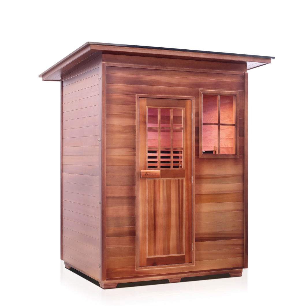Enlighten Sauna Sierra 3 Person Slope Roof facing right in a white background