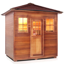 Load image into Gallery viewer, Enlighten Sauna Sierra 5 Person Peak Roof facing right with white background