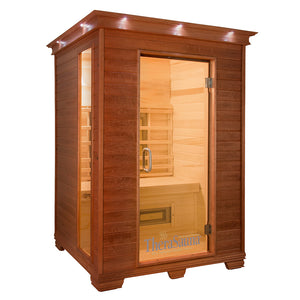 TheraSauna Far Infrared Two Person Plus Sauna facing right with white background