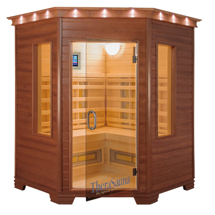 TheraSauna Far Infrared Three Person Corner Sauna facing front with white background