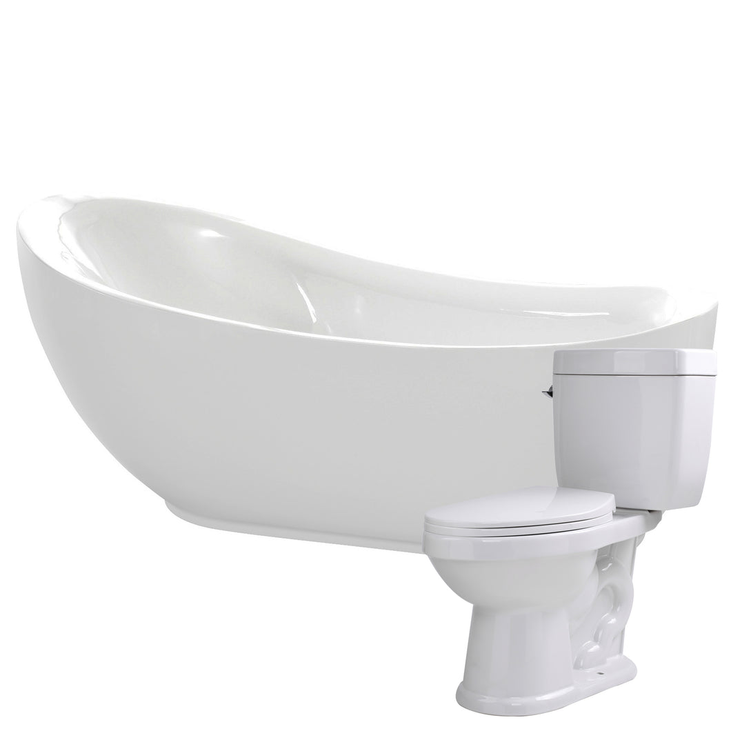 Talyah 71 in. Acrylic Soaking Bathtub with Kame 2-piece 1.28 GPF Single Flush Toilet